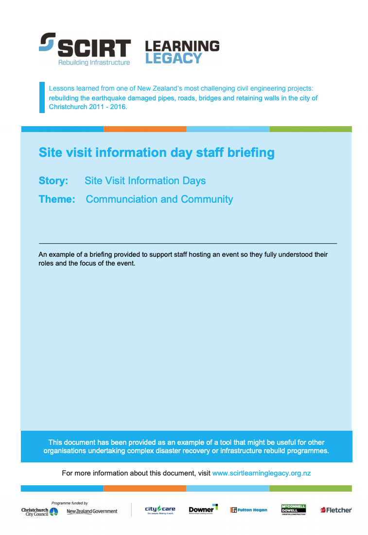 Site visit information day staff briefing Cover