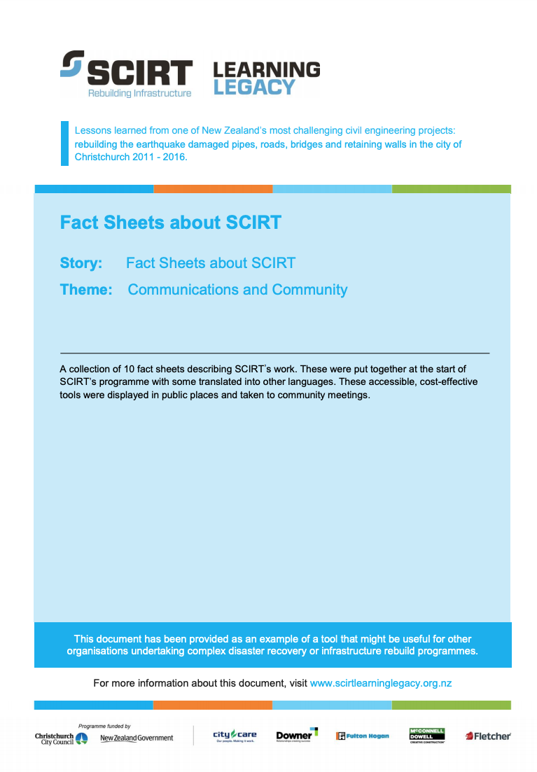 Fact sheets about SCIRT Cover