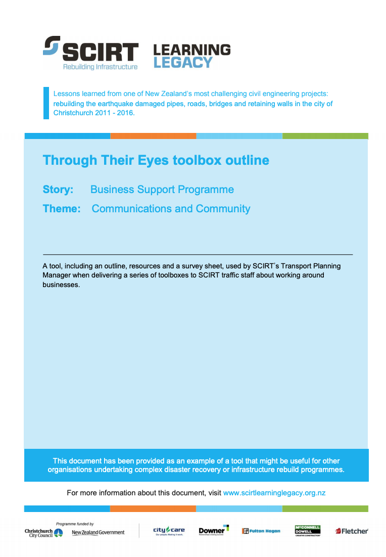 Through Their Eyes toolbox outline Cover