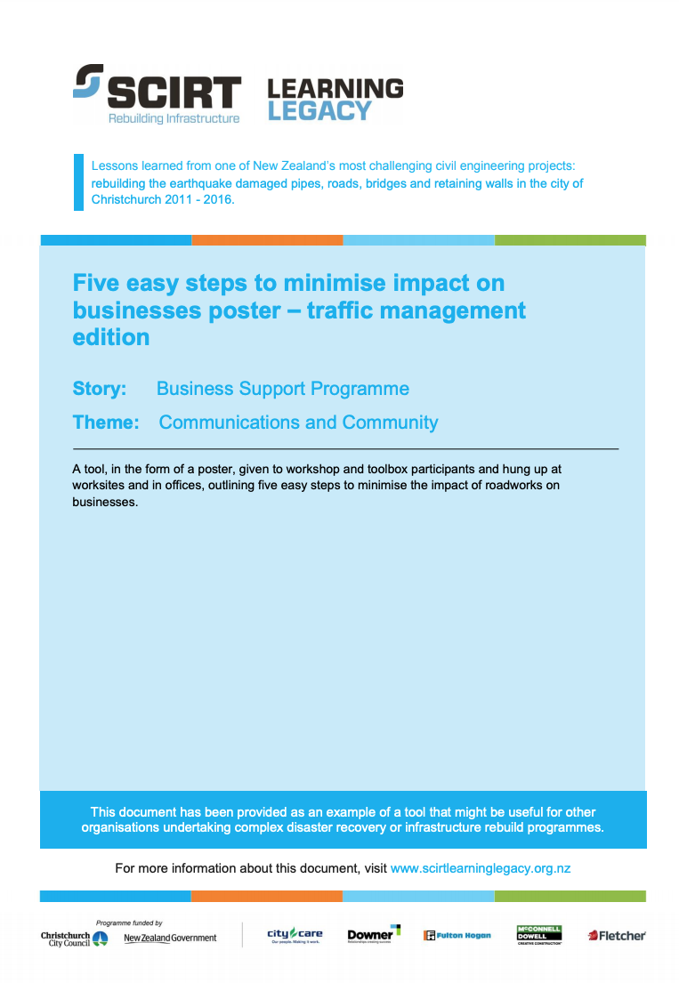 Five easy steps to minimise impact on businesses poster - traffic management edition Cover