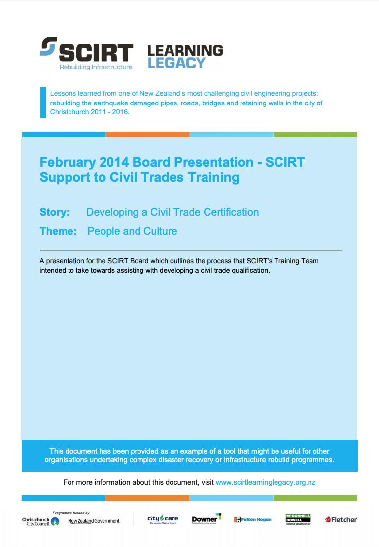 February 2014 Board Presentation - SCIRT Support to Civil Trades Training Cover