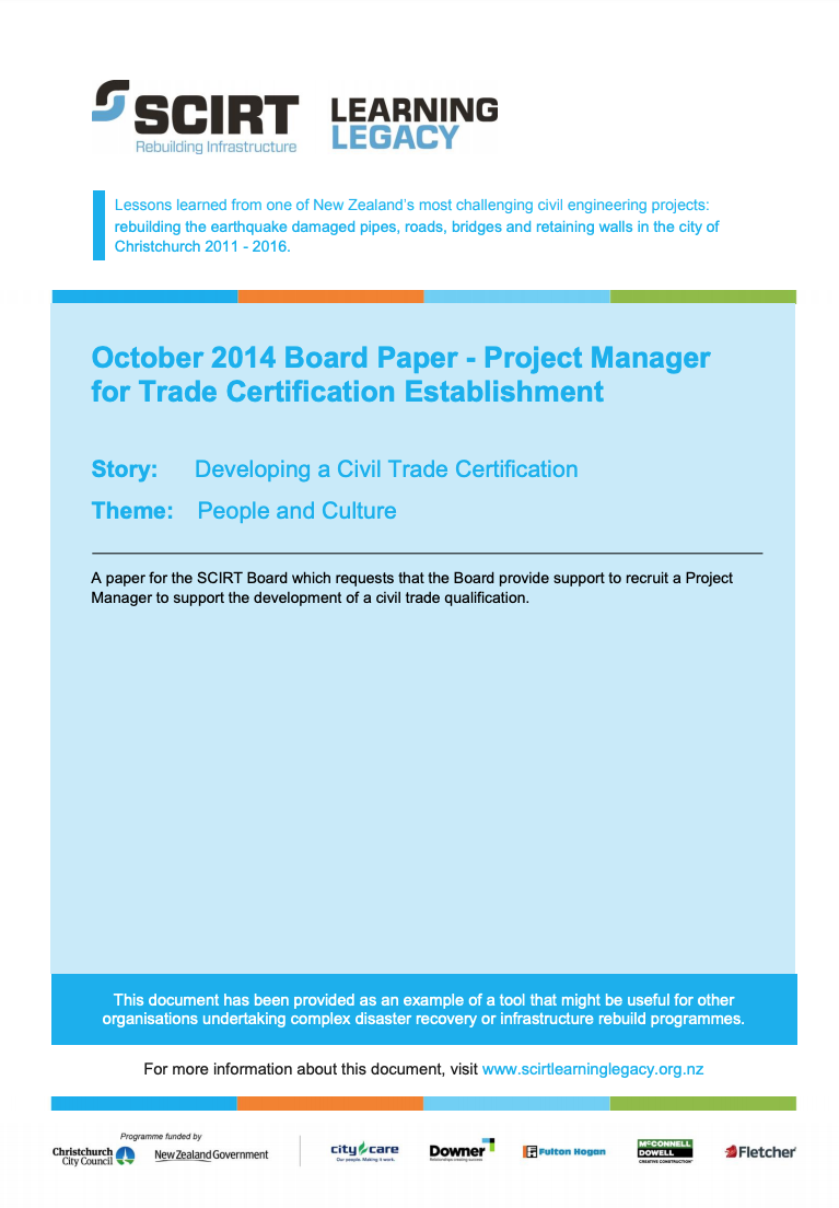 October 2014 Board Paper - Project Manager for Trade Certification Establishment Cover