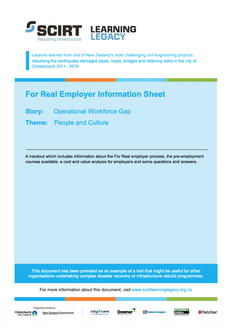 For Real Employer Information Sheet Cover