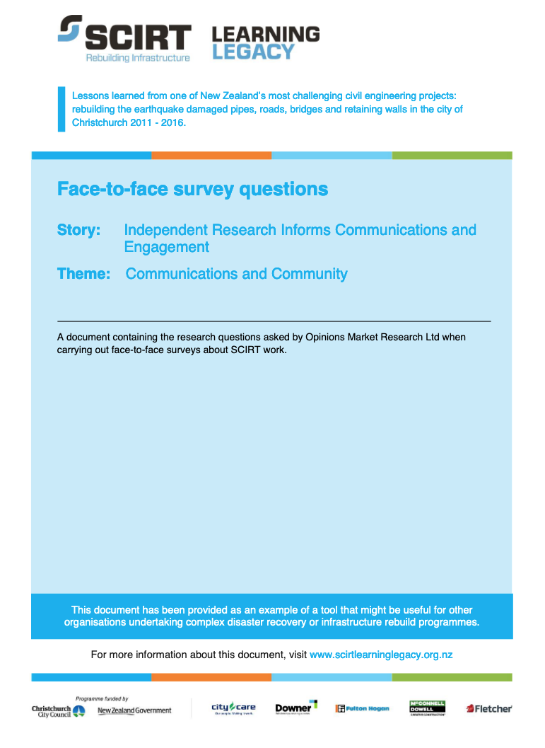 Face-to-face survey questions Cover