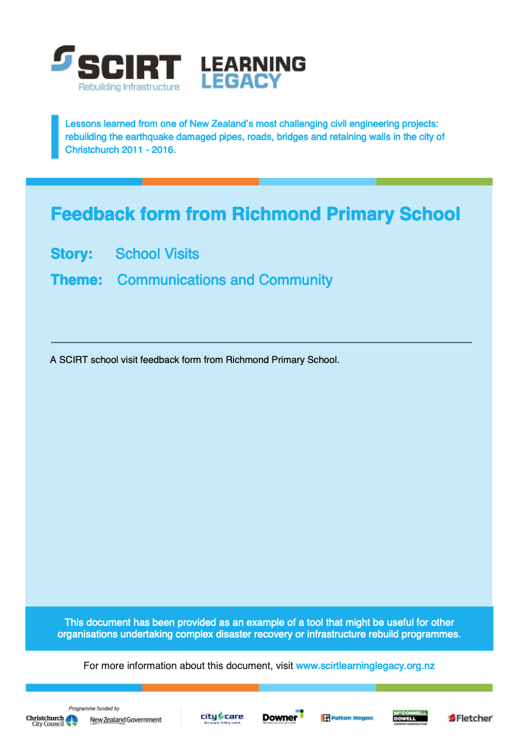 Feedback form from Richmond Primary School Cover