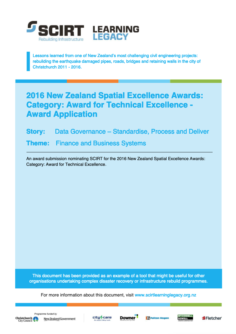 2016 New Zealand Spatial Excellence Awards: Category: Award for Technical Excellence - Award Submission Cover
