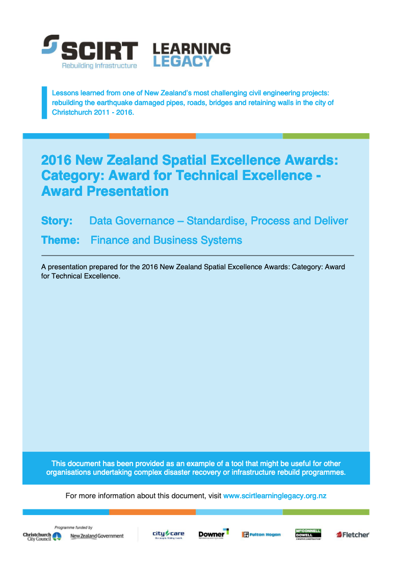 2016 New Zealand Spatial Excellence Awards: Category: Award for Technical Excellence - Award Presentation Cover