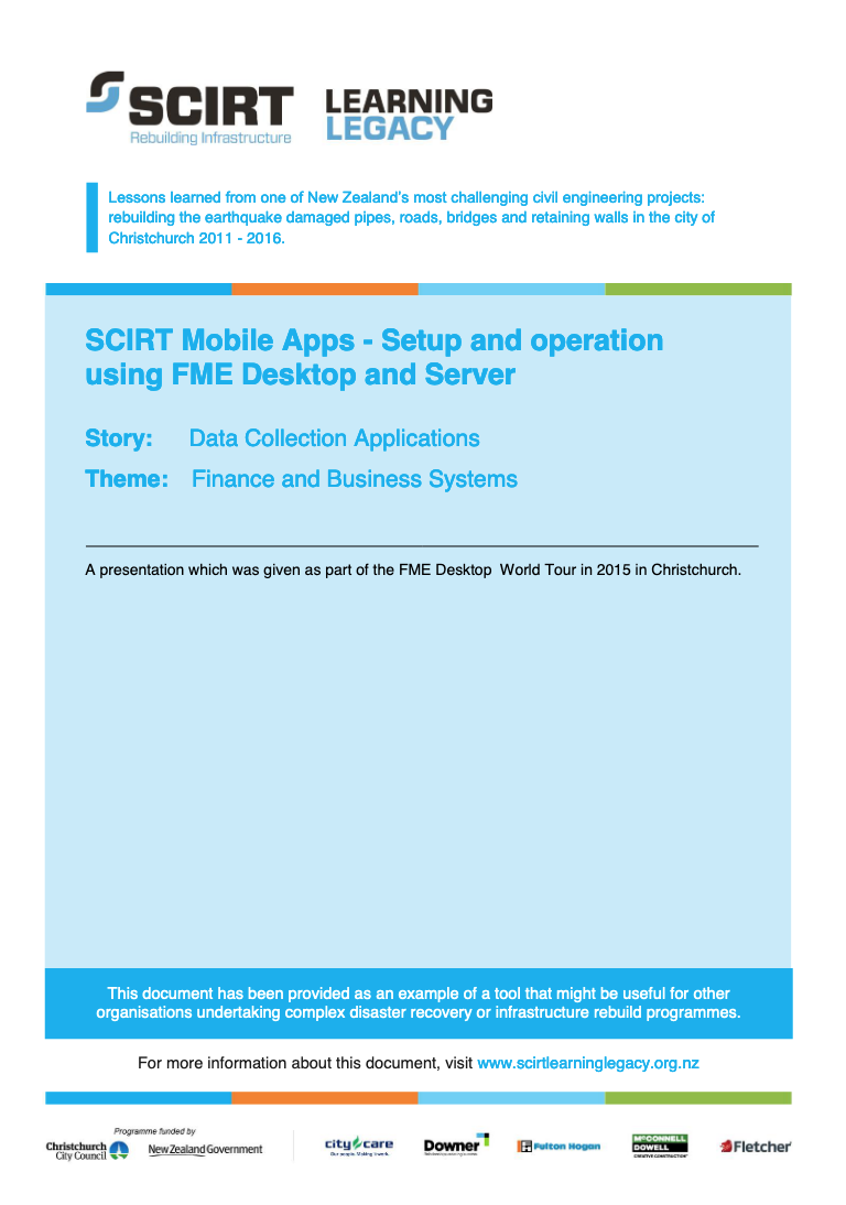 SCIRT Mobile Apps - Setup and operation using FME Desktop and Server Cover