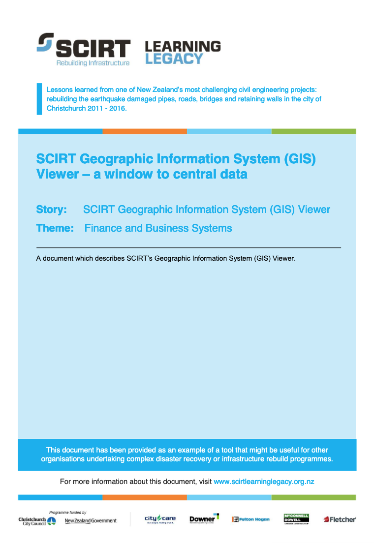SCIRT Geographic Information System (GIS) Viewer - a window to central data Cover