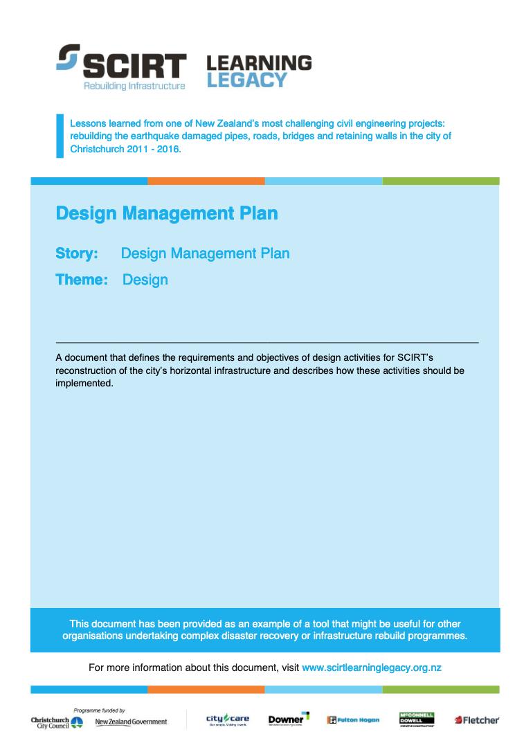 Design Management Plan Cover