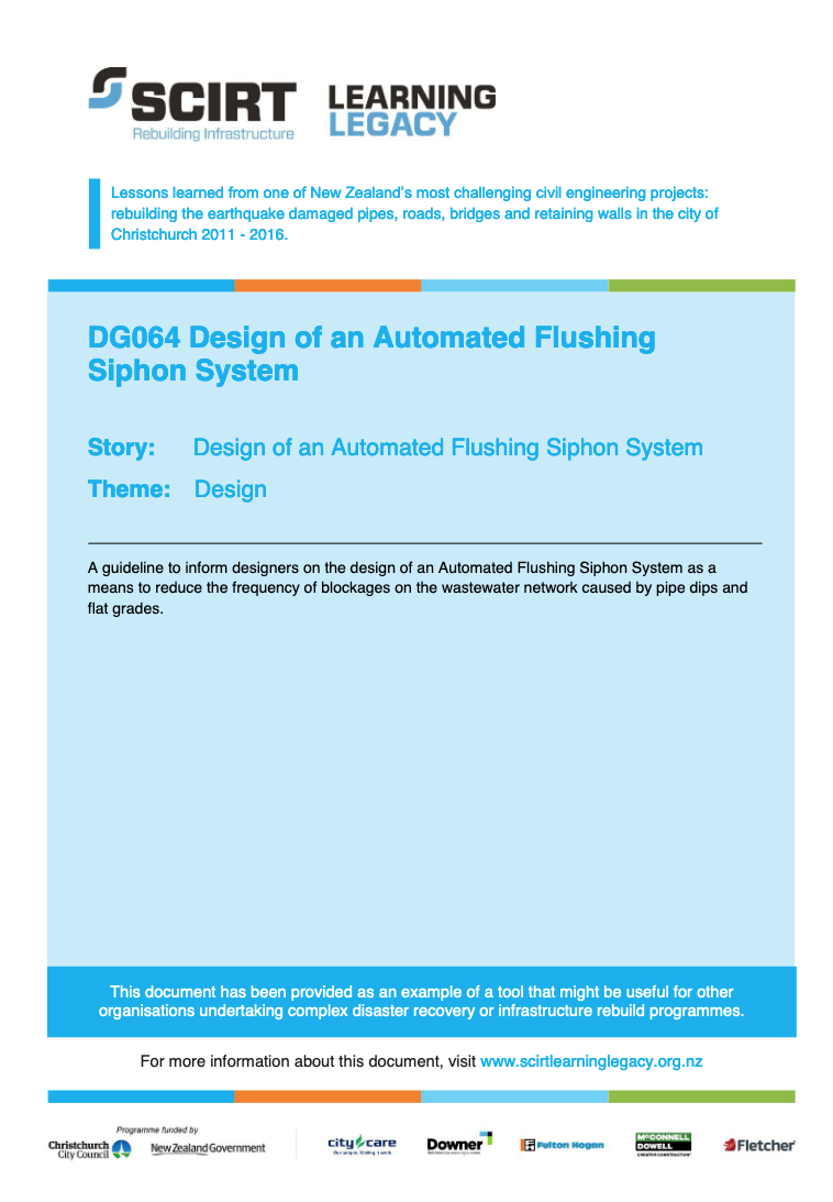 Guideline 064: Design of an Automated Flushing Siphon System Cover
