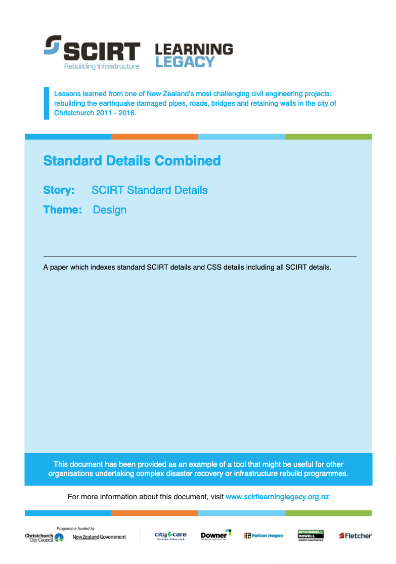SCIRT Standard Details Combined Cover