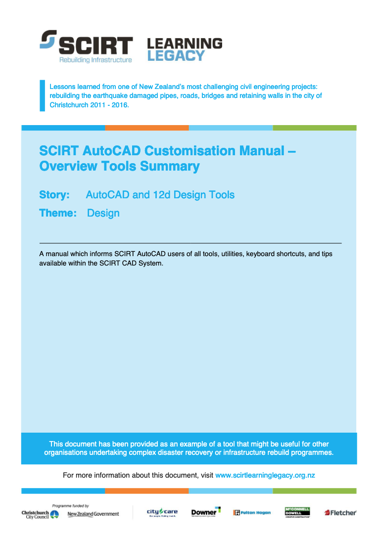 SCIRT AutoCAD Customisation Manual - Overview Tools Summary Cover