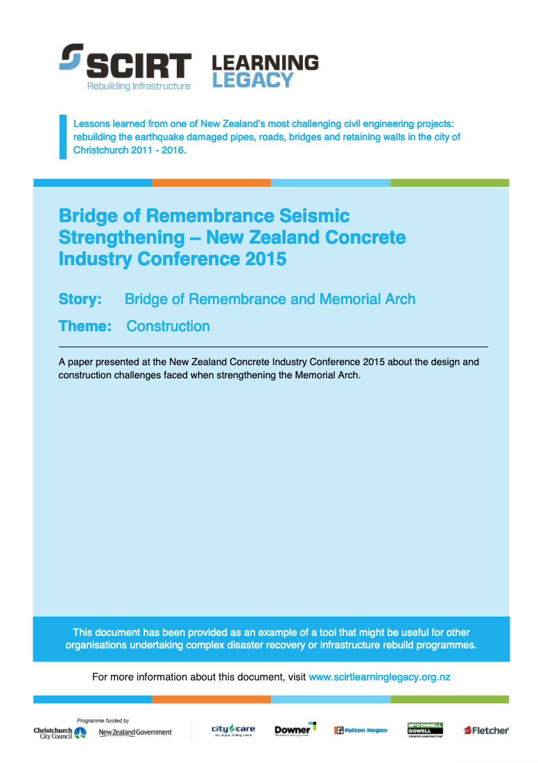 Bridge of Remembrance Seismic Strengthening - New Zealand Concrete Industry Conference 2015 Cover