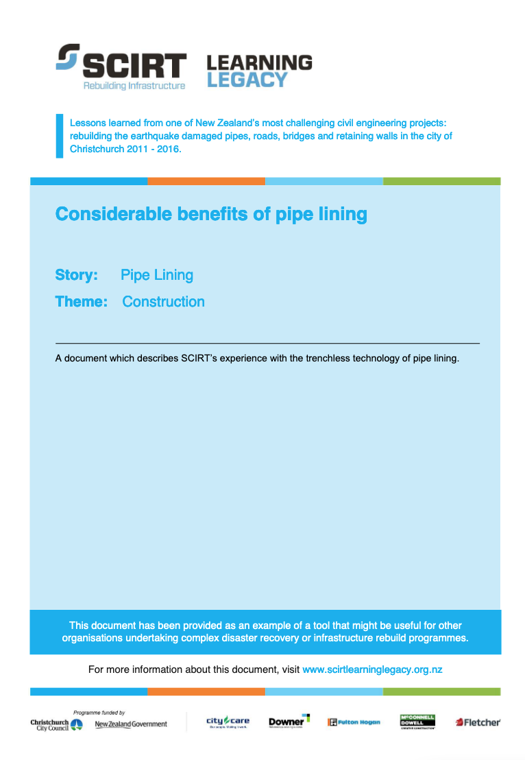 Considerable benefits of pipe lining Cover
