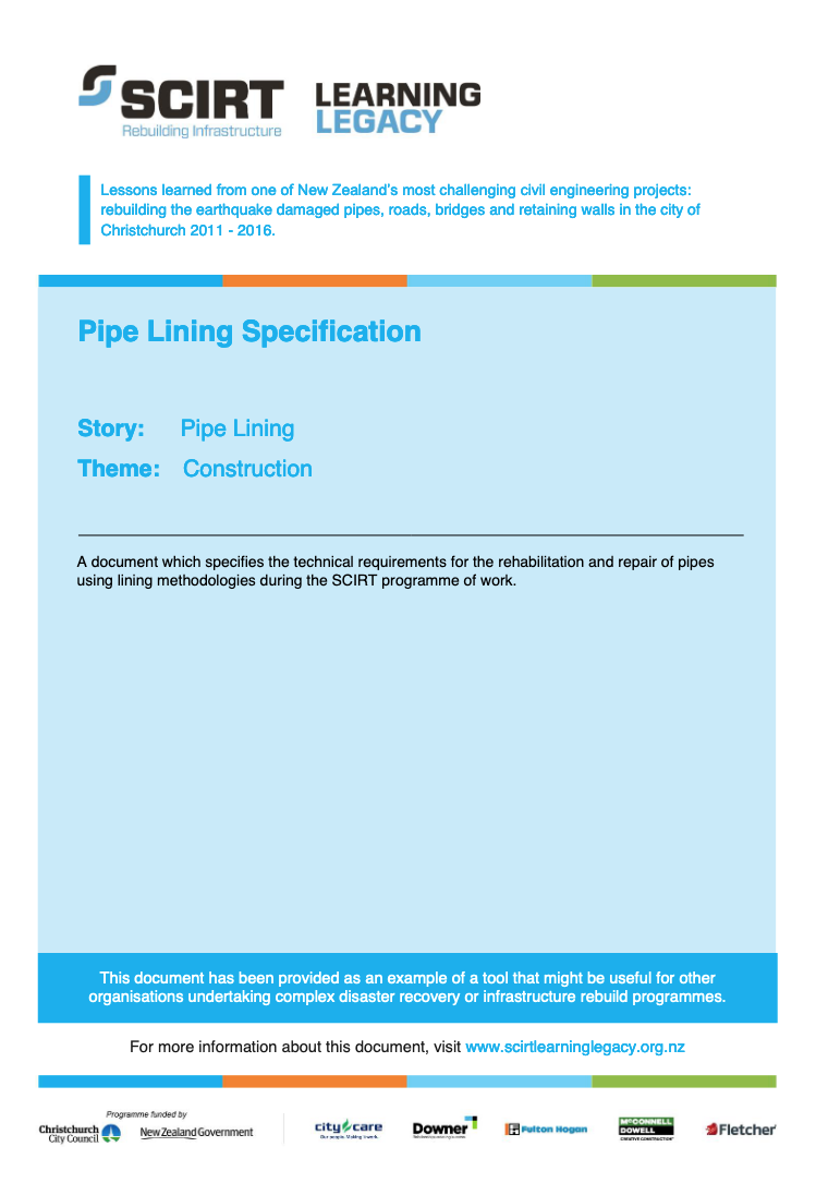 Pipe Lining Specification Cover