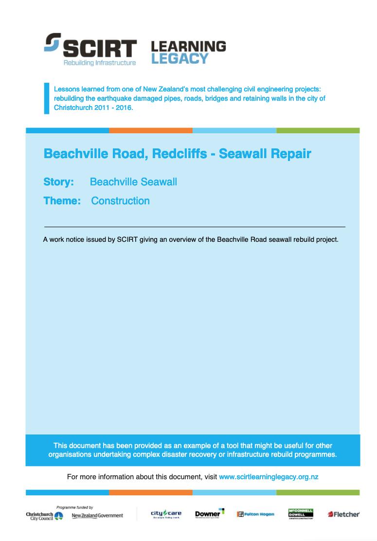 Beachville Road, Redcliffs - Seawall Repair Cover