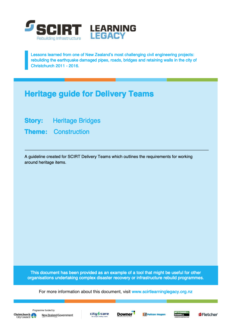 Heritage guide for Delivery Teams Cover