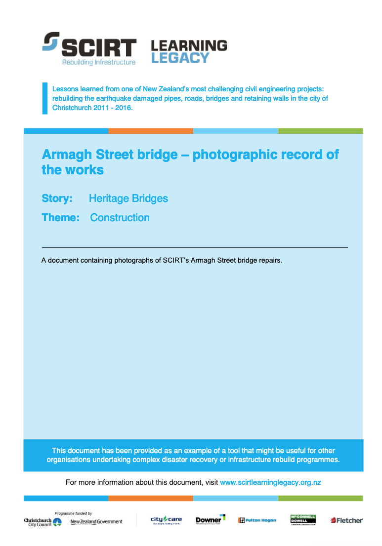 Armagh Street bridge - photographic record of the works Cover