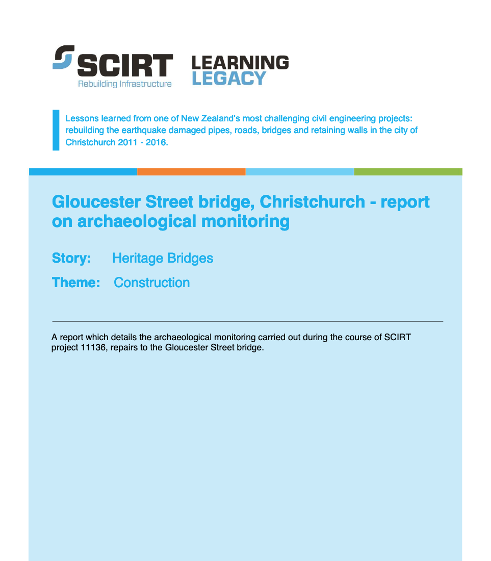 Gloucester Street bridge, Christchurch - report on archaeological monitoring Cover