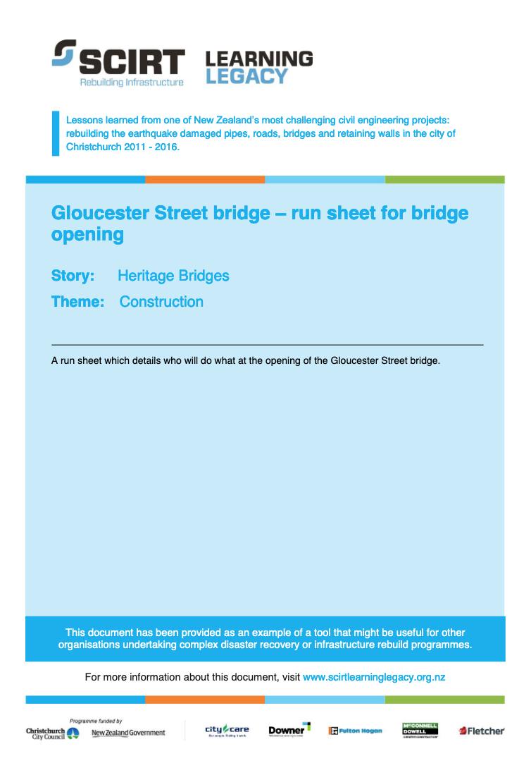 Gloucester Street bridge - run sheet for bridge opening Cover