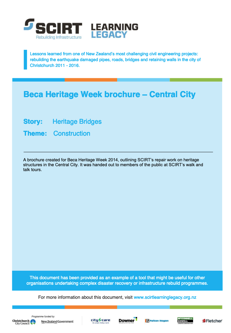 Beca Heritage Week brochure - Central City Cover