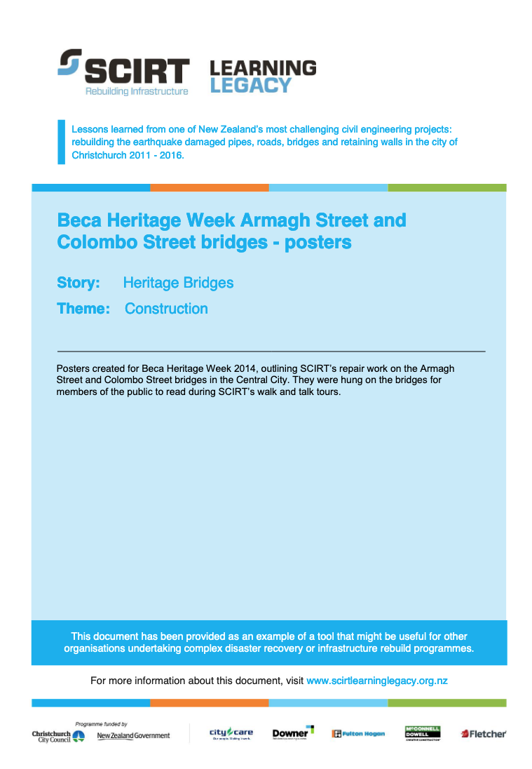 Beca Heritage Week Armagh Street and Colombo Street bridges - posters Cover
