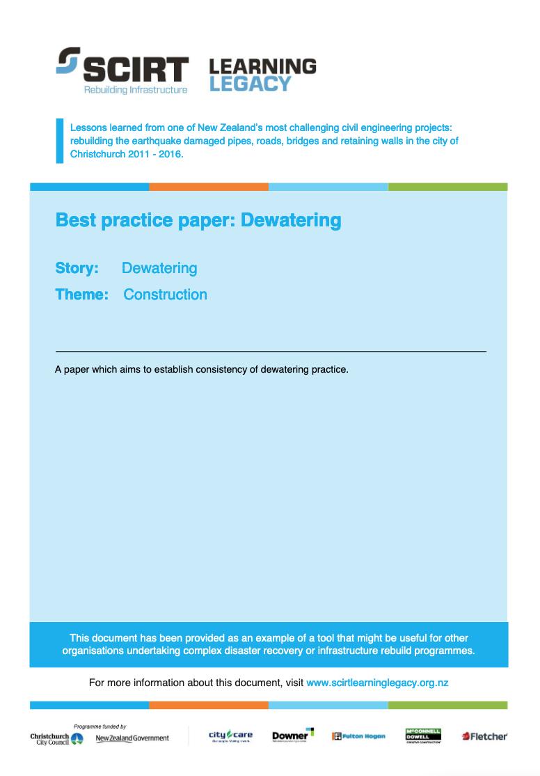 Best practice paper: Dewatering Cover