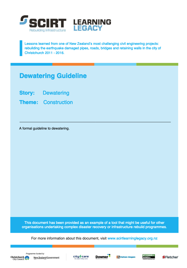 Dewatering Guideline Cover