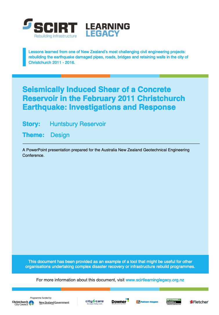 Seismically Induced Shear of a Concrete Reservoir in the February 2011 Christchurch Earthquake: Investigations and Response Cover