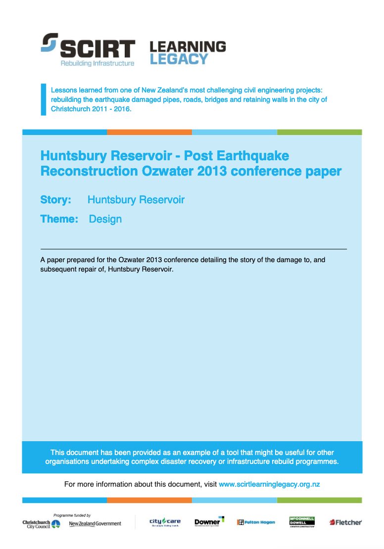 Huntsbury Reservoir - Post Earthquake Reconstruction Ozwater 2013 conference paper Cover