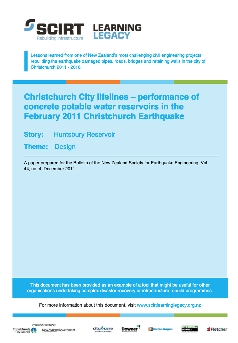 Christchurch City lifelines - performance of concrete potable water reservoirs in the February 2011 Christchurch Earthquake Cover