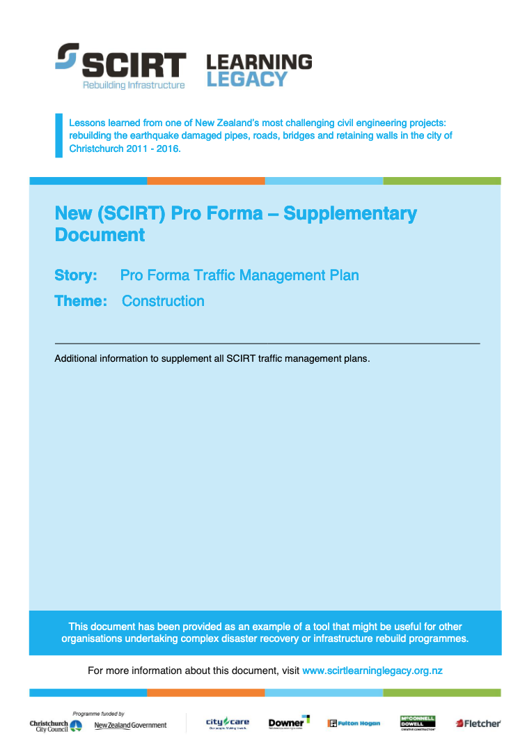 SCIRT Pro Forma - Supplementary Document Cover