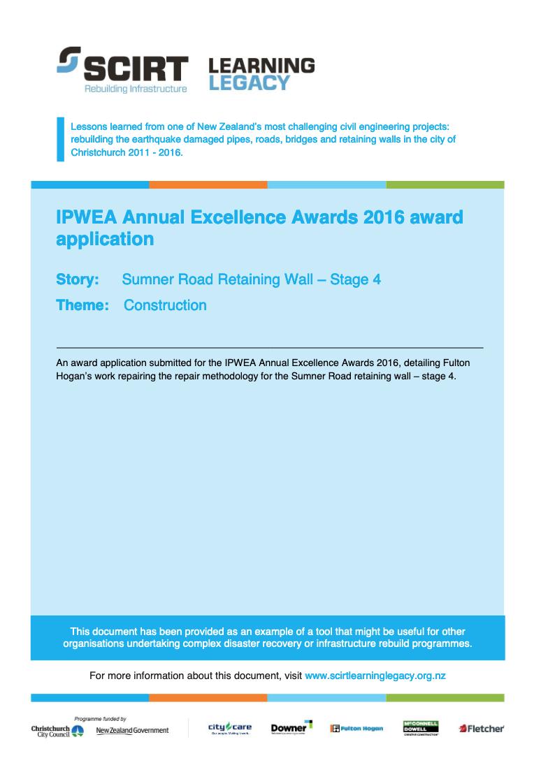 IPWEA Annual Excellence Awards 2016 award application Cover