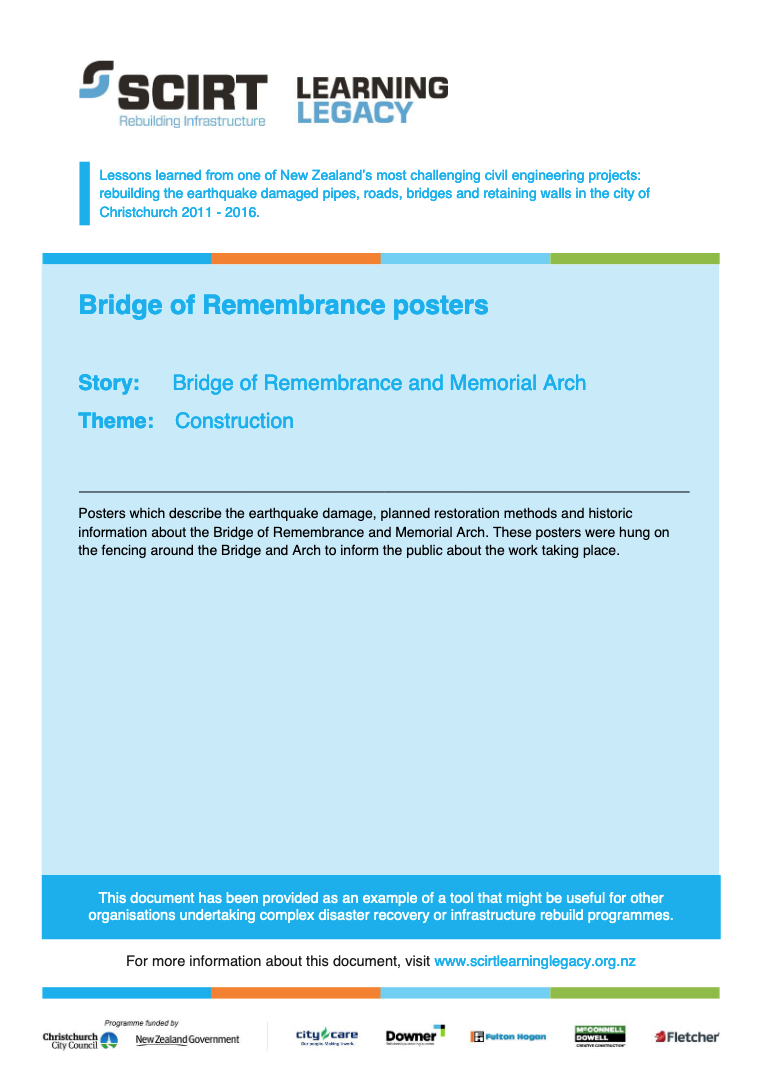 Bridge of Remembrance posters Cover