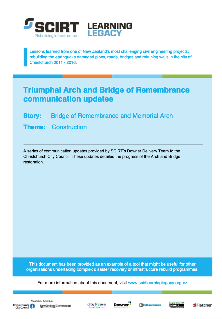 Triumphal Arch and Bridge of Remembrance communication updates Cover